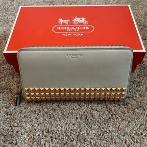 Coach leather studded wallet